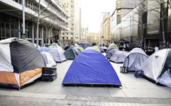Tents camped at Martin Place, Sydney in 2017