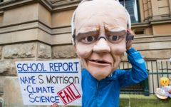Protestor dressed as Scott Morrison (Photo: Jonathon Dallimore / Shutterstock)