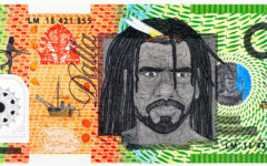Ryan Presley, Marri Ngarr people, Northern Territory, born 1987, Alice Springs, Northern Territory, Blood Money – Infinite Dollar Note – Dundalli, Commemorative, 2018, Brisbane, watercolour on paper; Collection of Bernard Shafer, Image courtesy the artist and the Museum of Contemporary Art Australia, © Ryan Presley, photo: Carl Warner.